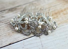 Vintage Feel Haarkam Zilver met Kristallen en Parels SALE