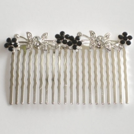 Black & Clear Butterfly and Flowers Hair Comb