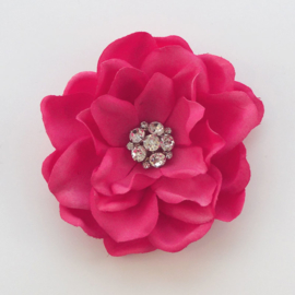 Haarbloem Gardenia met Fonkelend Hartje Fuchsia Roze
