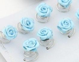 Licht Blauwe Roos Curlies 6 st