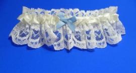 Kousenband Licht Ivoor met Blauw Strikje