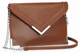 Faux Leather Enveloppe Clutch Bruin