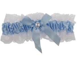 Wit met Blauwe Kousenband met Parel