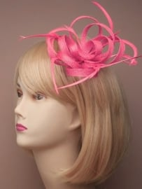 "Fuchsia Sinamay ""Strik"" Fascinator"