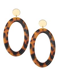 Oorstekers ovale hanger / leopard (7,5 cm)