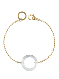 Armband met cirkel / parelmoer