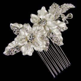 Zilveren Bloemen Haarkam