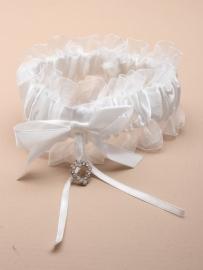 Witte Kousenband met Hartjes Bedeltje