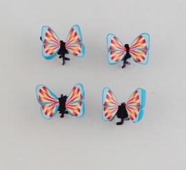 Vlinder Clipjes Blauw/Rood 4 st