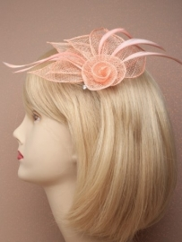Peach Sinamay Fascinator