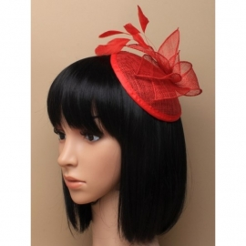Rode Sinamay Pilbox Fascinator