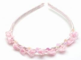 Roze Haarband bezet met Roosjes