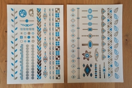 Metallic Tattoos 1 Zilver & Turquoise