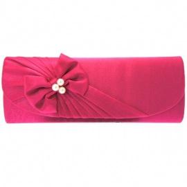 Clutch met Strik & Parels Fuchsia