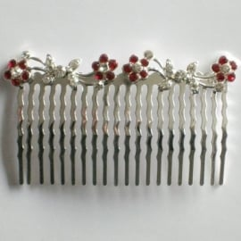 Red & Clear Butterfly and Flowers Hair Comb