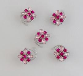 Mooie Roze Bloem Curlies 5 st