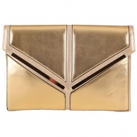 Grote Faux Leather Clutch Metalic Goud