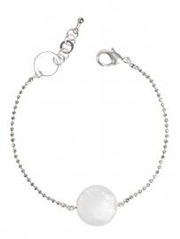 Armband met wit parelmoer plaatje zilver