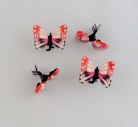 Vlinder Clipjes Zacht Rood 4 st