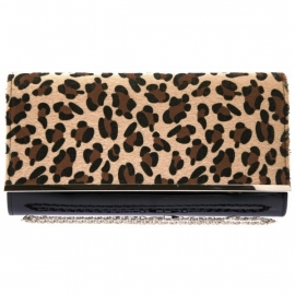 Zwarte Lak Clutch met Faux Animal Fur Beige