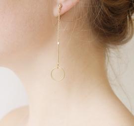 Vergulde oorbellen met cirkel lang