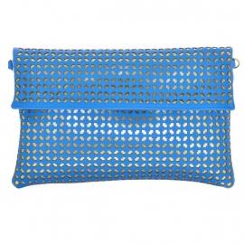 Lazer Cut Clutch Blauw-Goud