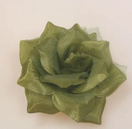 Green/Olive Rose Hair Clip & Broche