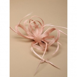 "Nude Sinamay ""Strik"" Fascinator"