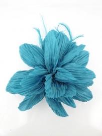 Glanzende Bloem met Veren Donker Turquoise