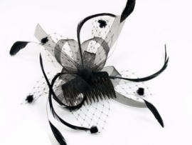 Black Looped Ribbon Hair Comb