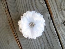 Witte Haarbloem met Kristallen