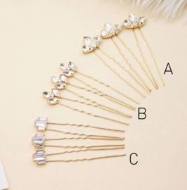 Kristallen Haarpinnen Goud A 3 stuks