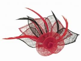 Sinamay Bloem Fascinator Rood & Zwart