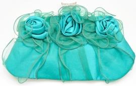 Donker Turquoise Rozen Tasje