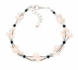 Licht Ivoor & Zwarte Zoetwater Pareltjes Armband