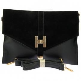 Faux Leather Enveloppe Tas Zwart