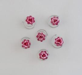 Roze Roos curlies 6 st