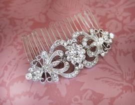 Vintage Feel Haarkam Zilver met Kristallen