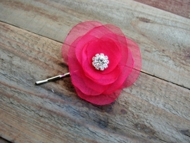 Organza Bloem met Kristallen Hot Pink