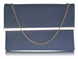 Donker Blauwe Faux Leather Clutch