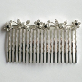 Clear & Black Butterfly and Flowers Hair Comb
