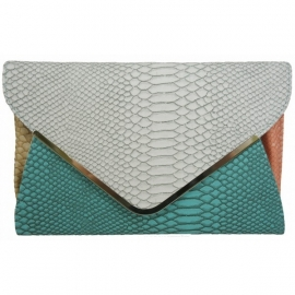Color Block Faux Snake Clutch Blauw