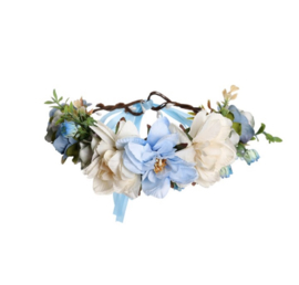 Grote Bloemenkrans Blauw & Ivoor