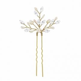 Parel & Kristallen Haarpin Goud 1 st