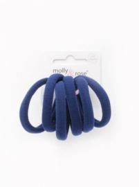 Jersey Haar Elastiekjes Donker Blauw 6 stuks