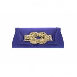 Blauw Avondtasje met Fonkelende Decoratie