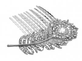 Pauwenveer Haarkam Zilver