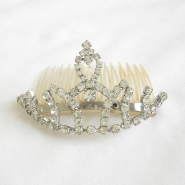 Vintage Rhinestone Studded Tiara / Hair Comb circa 1960