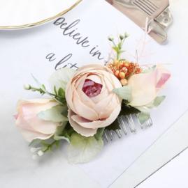 Peach Bloemen Haarkam