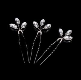 Kristallen Haarpinnen Zilver 3 stuks